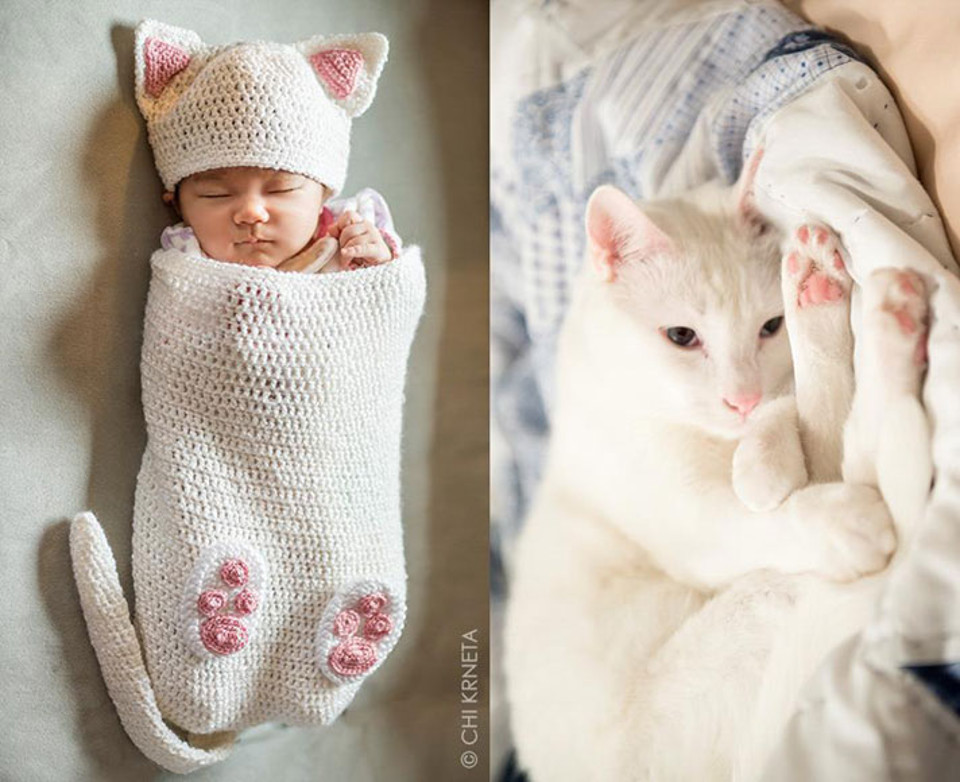 Crochet Cocoons Turn Babies Into Cat Babies!