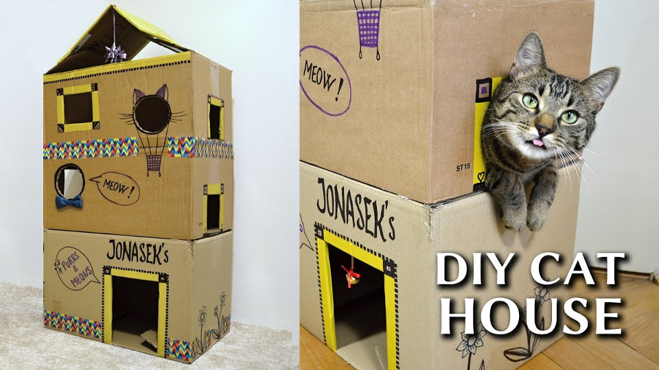 How to make an epic cardboard cat house diy for How to make a house from cardboard box